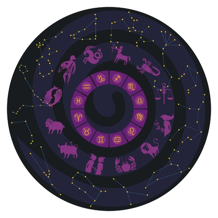 nocturne: Zodiac wheel with constellations and symbols Illustration