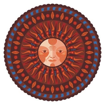 harvest moon: Concentric decorative fall mandala Illustration