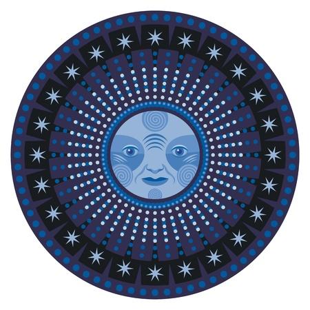 equinox: Concentric decorative mandala of the moon