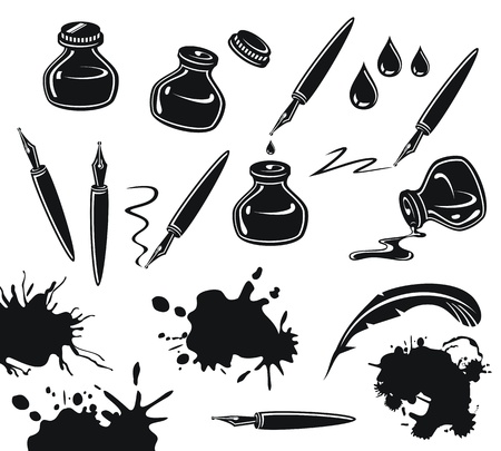 Black and white set with pens, ink pots and spills Vector