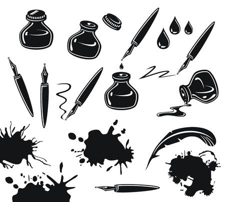 ink pot: Conjunto blanco y negro con plumas, tinteros y derrames