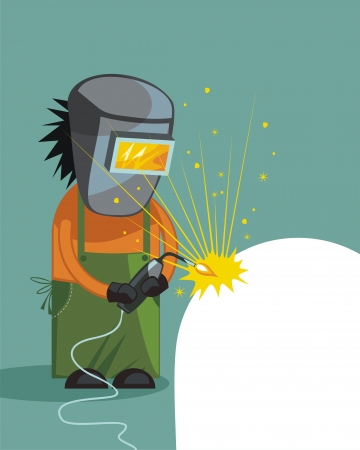 electric torch: Cartoon of a welder with space for custom text