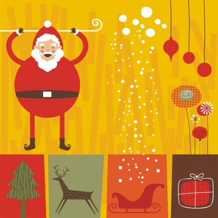 Christmas retro background with Santa and seasonal elements Vector