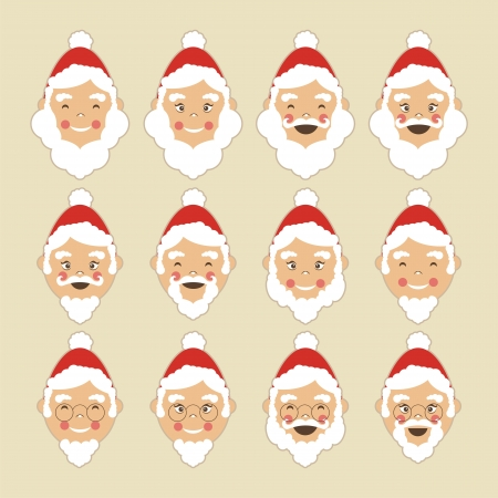 Collection of Santa heads Vector