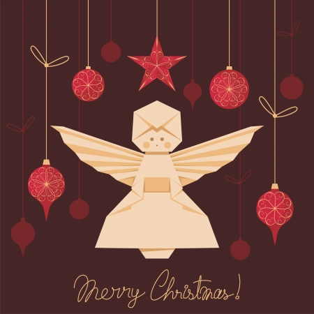 Christmas background with origami angel and tree decorations
