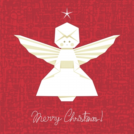asian angel: Christmas background with origami angel