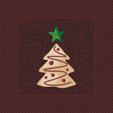 Gingerbread Christmas tree on dark, textured background Vector