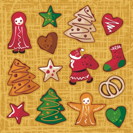 christmas tree illustration: Christmas gingerbread cookies in various shapes