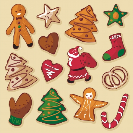 Christmas gingerbread cookies in various shapes Vector