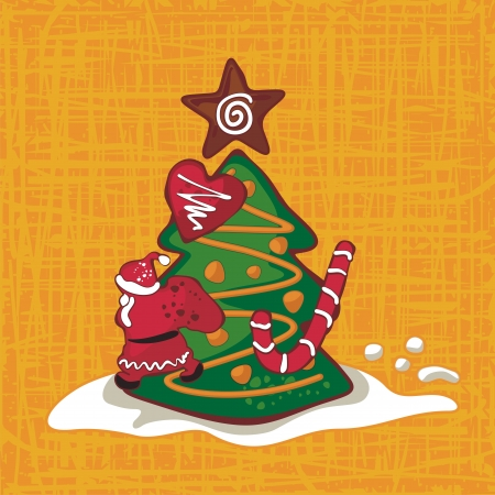 Christmas background with seasonal gingerbread figures Vector