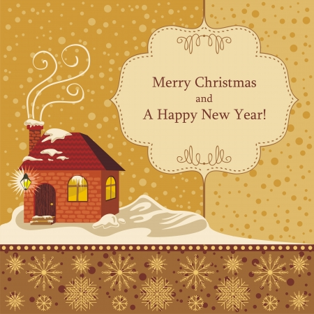 Christmas decorative background with seasonal greetings Vector