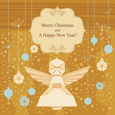 Christmas decorative background with origami angel and seasonal greetings Vector