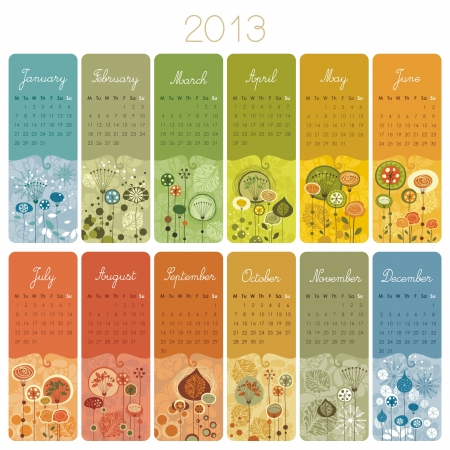 2013 Calendar set with vertical banners or cards. Weeks start wih Monday.