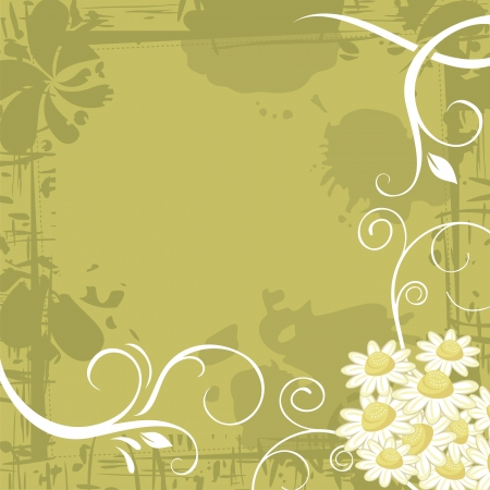 Grunge chamomile background with space for text Vector