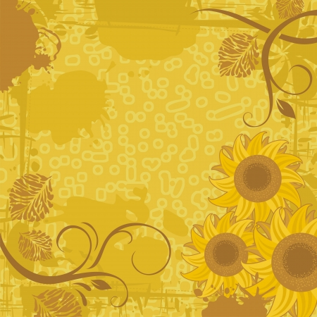 Sunflower grunge background with space for text Stock Vector - 16563989
