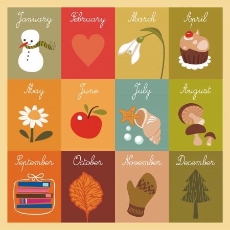 meses del año: Calendario de los niños con las tarjetas ilustradas
