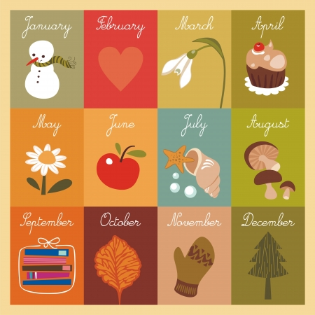 Children's calendar with illustrated cards Stock Vector - 16612372