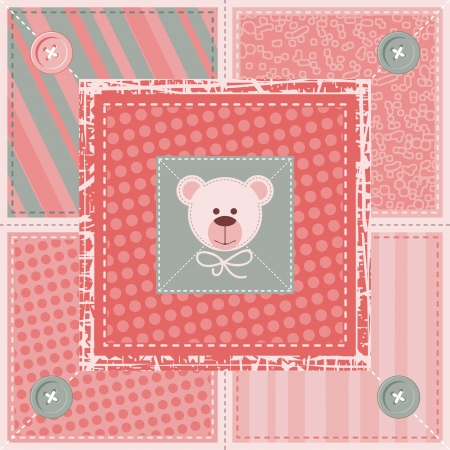 Quilt decorative pattern or background with teddy bear Vector