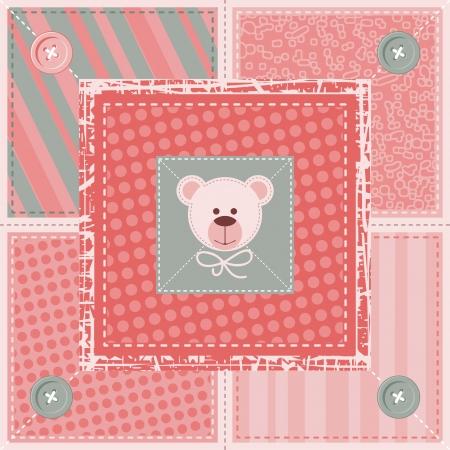 Quilt decorative pattern or background with teddy bear Ilustração