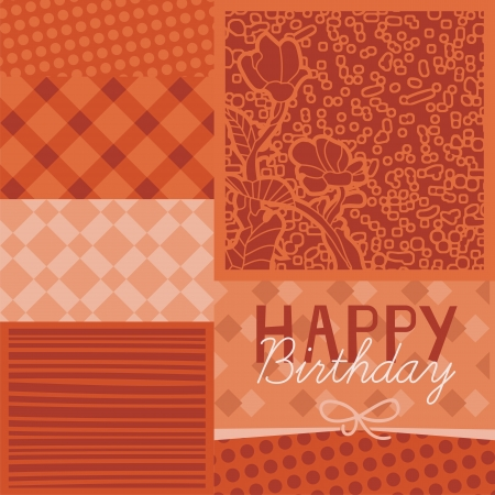 Birthday greeting card background with patterned scraps Vector