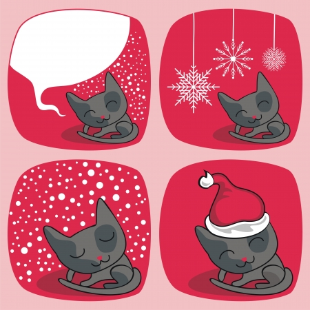 Cartoon Christmas set with cute cats and seasonal elements Vector