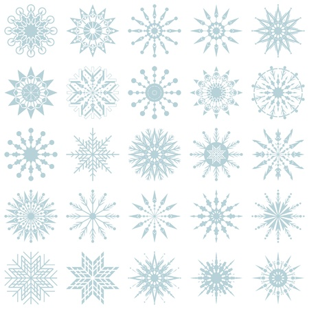 Winter decorative set with various snowflake shapes Stock Vector - 16810496