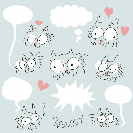 Set of doodled bespectacled cat faces and speech balloons Vector