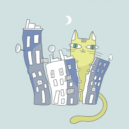 nocturne: Giant cat watching over city condos during nigh time