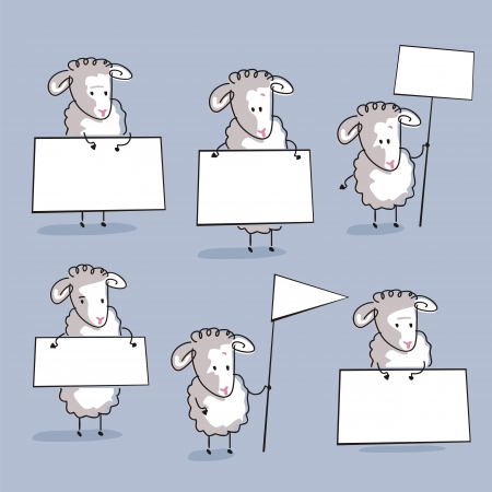 Cute sheep or lambs set, holding banners (use the space for custom text) Vector
