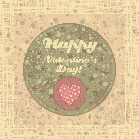 Valentines Day retro badge on abstract background Vector