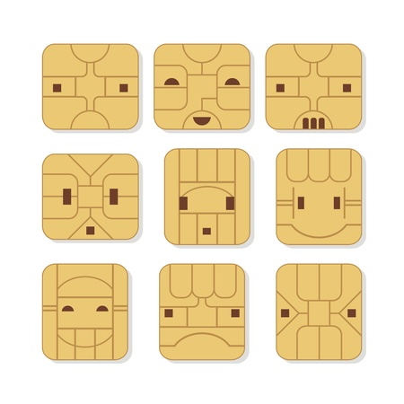 sim card: Sim cards set with various face expressions Illustration