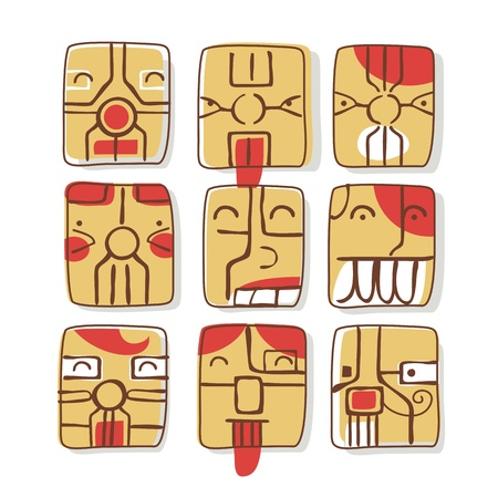Set of facial expressions cartoons inspired from sim cards Vector