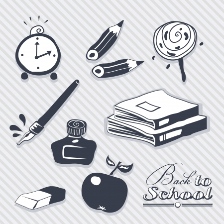 Back to School set with various school related objects Vector