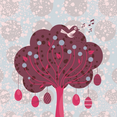 Festive background with decorative Easter tree Vector