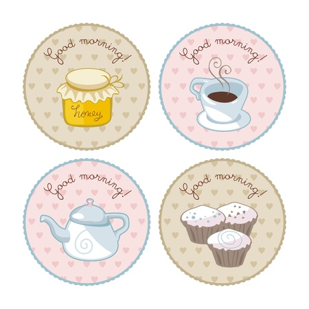 Breakfast set with round vintage tags