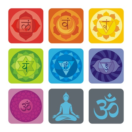 Spiritual set with chakras and yoga icons Vector