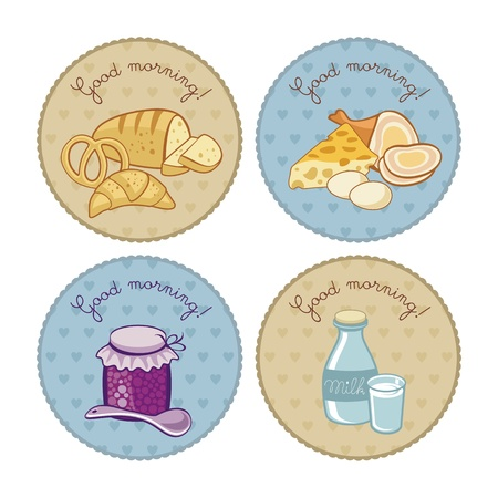 Breakfast set with round vintage tags Vector