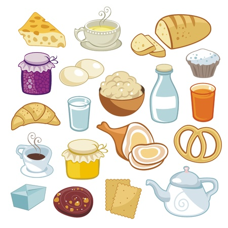 Breakfast set with various food products Imagens - 18217246