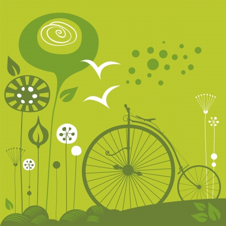 Decorative spring background with penny farthing Vector