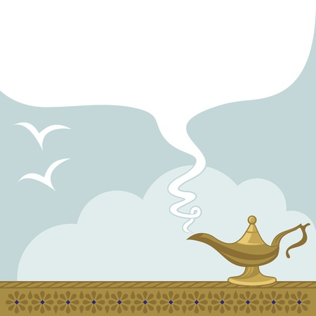 an oil lamp: Fondo lámpara mágica con espacio para el texto