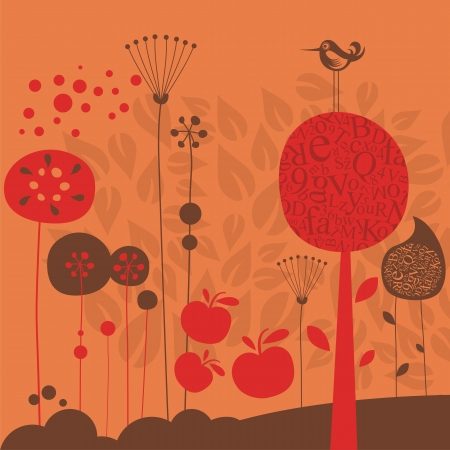 Late fall illustration with stylized decorative elements Vector