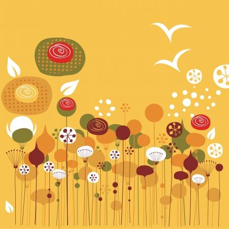 Summer days illustration with decorative stylized elements