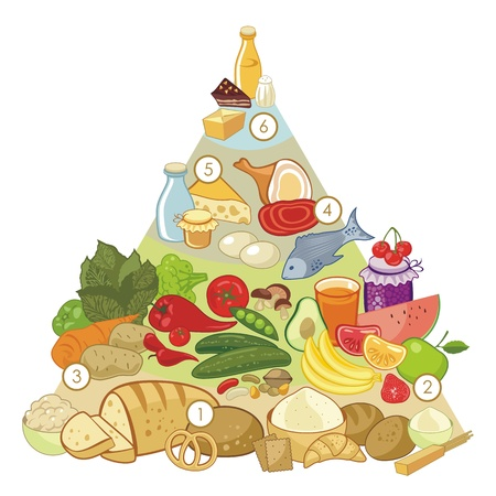 beans and rice: Omnivore nutrition pyramid with numbered food groups
