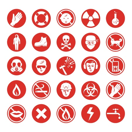 biohazard symbol: Work protection set with various icons Illustration