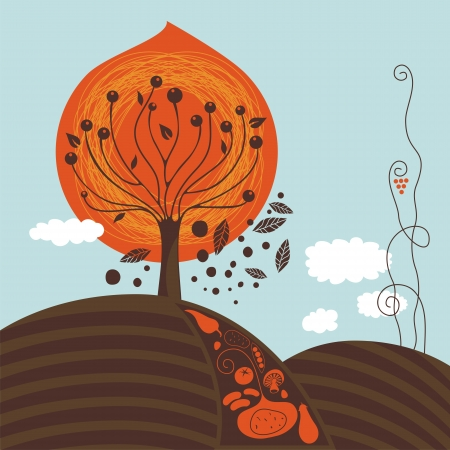 Fall scene illustration with harvest and tree