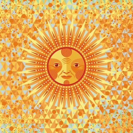 幾何学的な背景の上の装飾的な夏の太陽