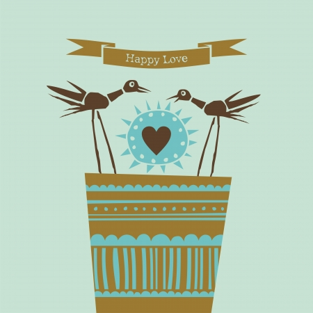 Decorative illustration with two happy birds sharing love Vector