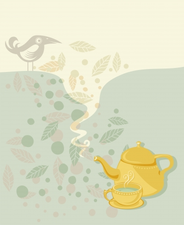 Retro tea time background with speech balloon Vector