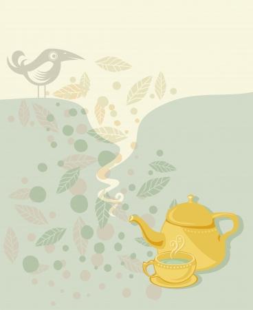 tea ceremony: Retro tea time background with speech balloon