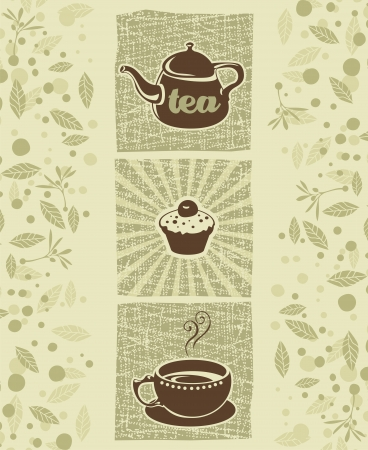 steam of a leaf: Retro illustration with teapot, cookie and teacup Illustration